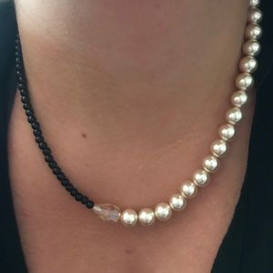 Jewelry - Handmade Pearl/Black Beaded Choker Style Necklace